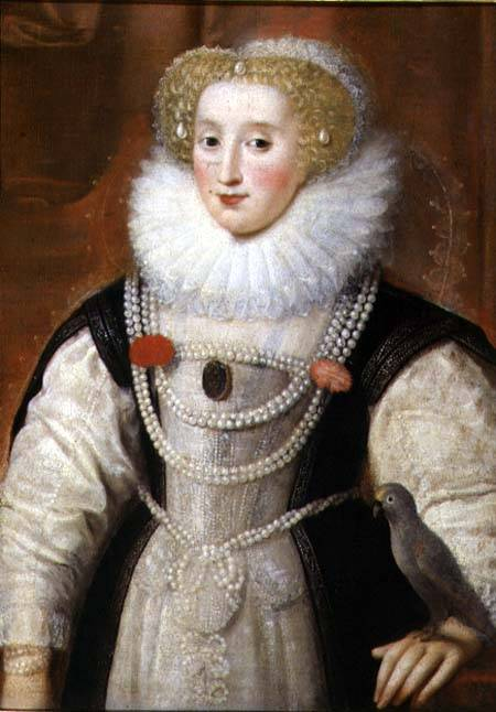 BAL99924 Portrait of an Elizabethan Lady with a Parrot (oil on canvas) by English School, (16th century) oil on canvas Private Collection English, out of copyright