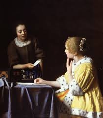 P Vermeer Lady Maidserbvant holding Letter
