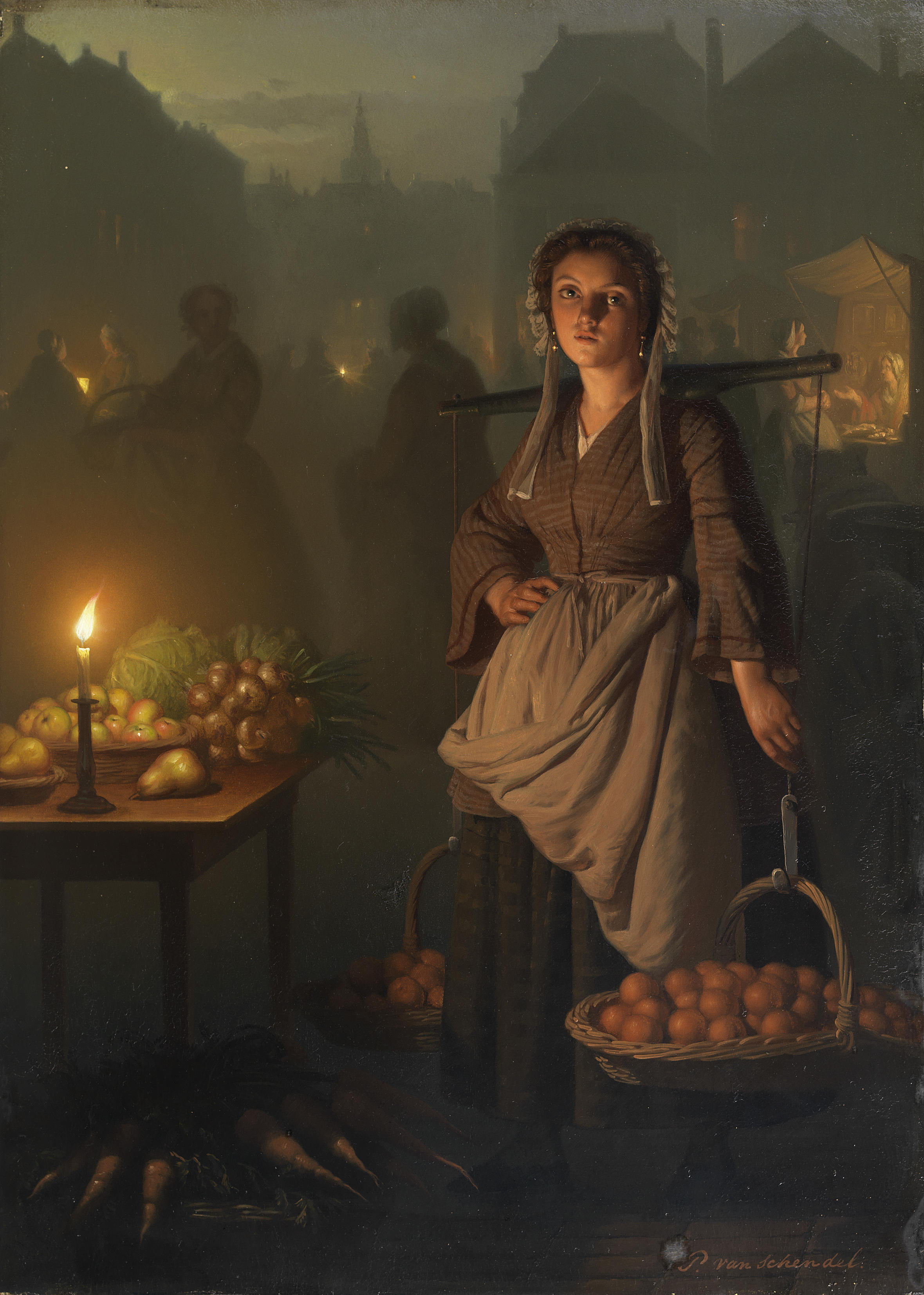 Light Petrus_van_Schendel_Market_by_candlelight